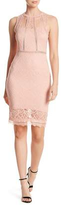 Bebe Sheer Cutout Lace Sheath Dress