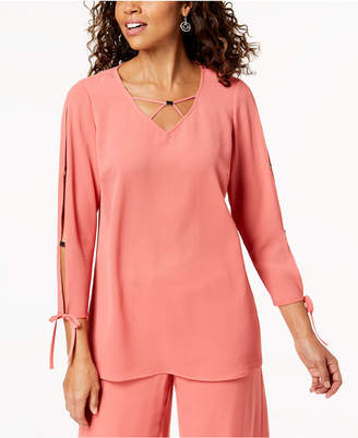 JM Collection Split-Sleeve Lattice-Neck Top