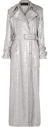Balmain Sequined Crepe Trench Coat - Silver