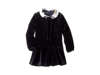 Oscar de la Renta Childrenswear Long Sleeve Velvet Flare Dress (Little Kids/Big Kids)