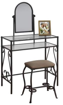 Monarch Specialties Monarch Vanity Set 2Pcs Set / Brown Metal With Tempered Glass