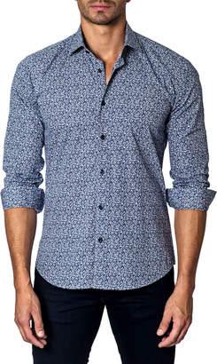 Unsimply Stitched Floral Sport Shirt, Blue