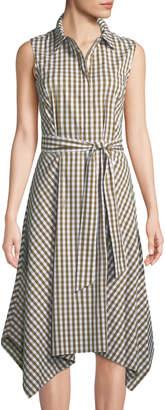 Lafayette 148 New York Nanette Gingham Sleeveless Handkerchief Midi Dress