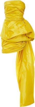 Oscar de la Renta Ruched Silk Mini Dress With Train