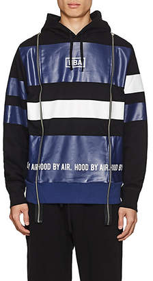 Hood by Air MEN'S LOGO STRIPED COTTON TERRY HOODIE - BLUE SIZE XL