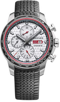 Chopard 44mm Racing Mille Miglia Classic Chronograph Watch with Tire Strap, Black/Red