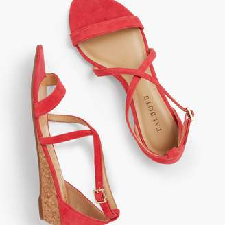 Talbots Capri Cross-Strap Mini-Wedge Sandals - Suede