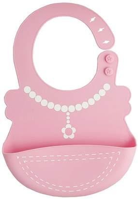 Meiyiu Kids Toddler's Drooling Teething Soft Silicone Waterproof Bib Burp Cloth Prevent Leak Meal Towel Pink Necklace