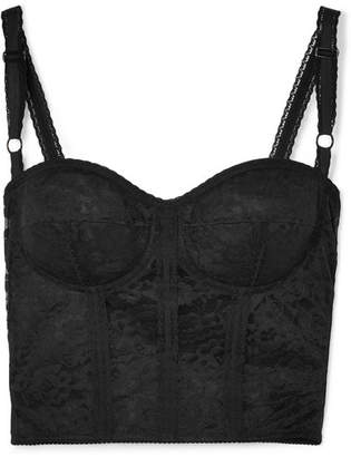 Dolce & Gabbana Stretch-lace And Mesh Bustier - Black