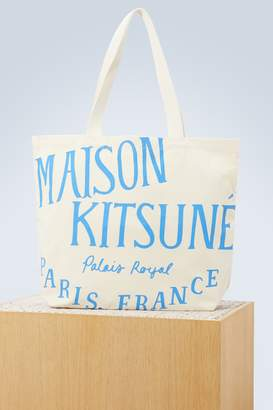 MAISON KITSUNÉ Logo cotton shoulder bag