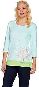 Factory Quacker Cherry Blossom Embroidered 3/4Sleeve T-shirt
