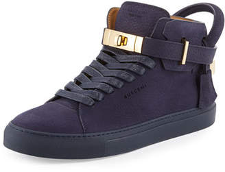 Buscemi 100mm Men's Nubuck Leather High-Top Sneakers, Blue Ink
