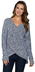 Peace Love World Reversible Cross-Over MarledSweater