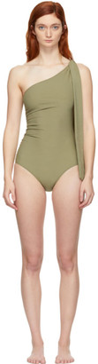 Lisa Marie Fernandez Green Arden Ruched Tie One-Piece Swimsuit