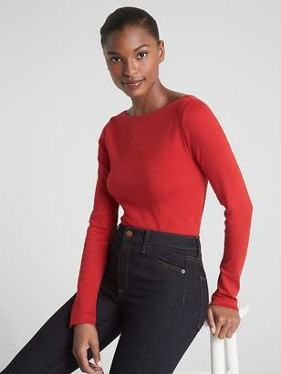 Gap Modern Long Sleeve Boatneck T-Shirt