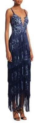 Marchesa Embroidered Floral Fringe Gown