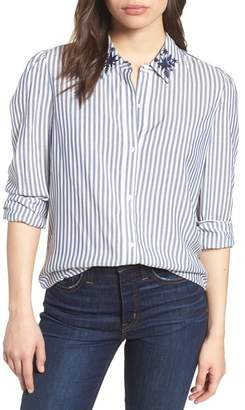 Vince Camuto Embroidered Collar Stripe Shirt