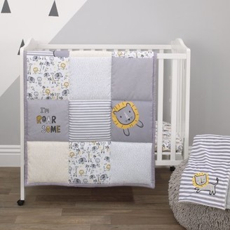 NoJo Little Love By Little Love by Roarsome Lion - Grey, Yellow, White 3 Piece Nursery Mini Crib Bedding Set with Comforter, 2 Fitted Mini Crib Sheets