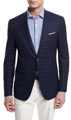 Isaia Plaid Two-Button Jacket, Navy $2,695 thestylecure.com
