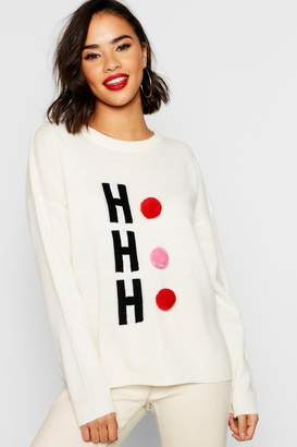 boohoo Hohoho Christmas Sweater With Pom Pom