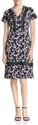 Karl Lagerfeld Paris Lace-Trimmed Floral Dress