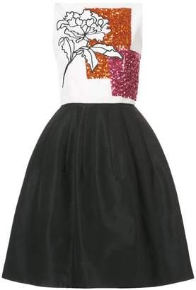 Oscar de la Renta embellished floral-print pleated dress