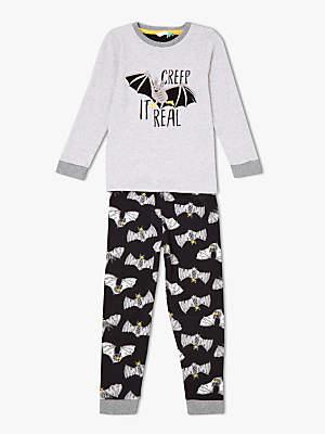 John Lewis & Partners Children's Bat Pyjamas, Black/Grey