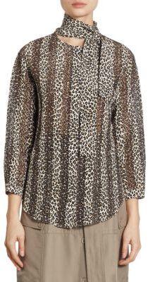 Nina RicciNina Ricci Silk Leopard-Print Blouse