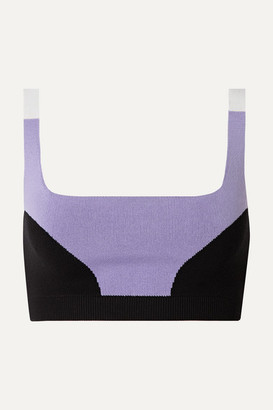 Nagnata - Color-block Technical-knit Stretch-cotton Sports Bra - Lilac