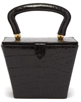 Staud - Sadie Crocodile Effect Leather Bag - Womens - Black
