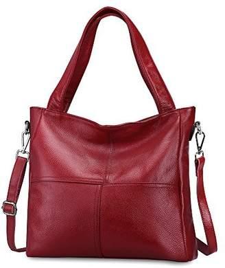 S-ZONE Women's Genuine Leather Tote Handbag Shoulder Crossbody Bag (Red)