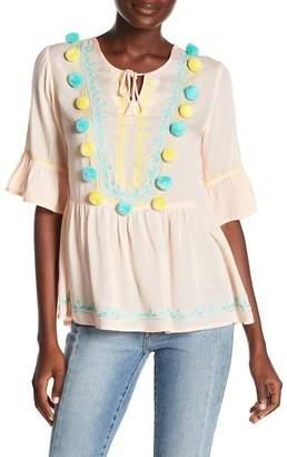 Lovestruck AMERICA & BEYOND Embroidered Pompom Top