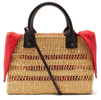 Muun Charlotte Canvas And Woven Grass Bag - Womens - Red