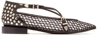 Toga Stud Embellished Mesh, Pvc And Leather Flats - Womens - Black