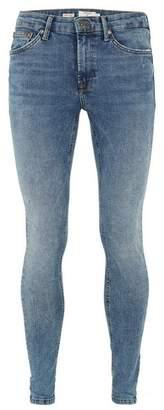 Topman Mens Mid Wash Blue Super Spray On Jeans