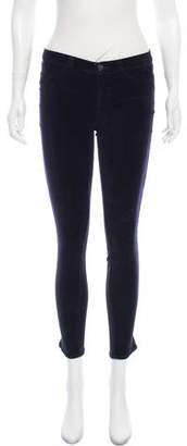 J Brand Low-Rise Super Skinny Velvet Pants