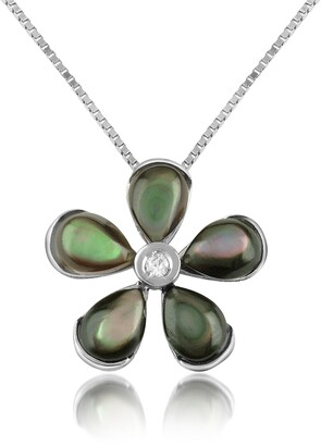 Del Gatto Diamond Gemstone Flower 18K Gold Pendant Necklace