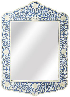One Kings Lane Bone Inlay Mirror - Blue