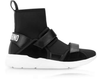 Moschino Ettore Black Neoprene High Top Sneakers w/Calf Leather and Suede Upper Straps