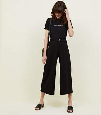 New Look Black D-Ring Belt Cropped Trousers