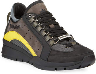 DSQUARED2 Men's High-Sole Colorblock Nubuck Leather Sneakers