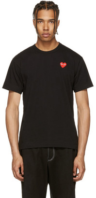 Comme des Garçons Play Black & Red Heart Patch T-Shirt $100 thestylecure.com