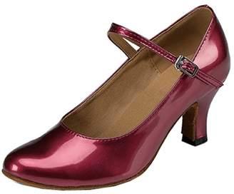 TDA Women's Kitten Heel Mary Janes PU Leather Buckle Closed Toe Salsa Tango Ballroom Latin Dance Shoes 7 B(M) US