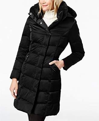 T Tahari Women's Sia Hooded Faux-Fur-Trim Puffer Coat Jacket (S)