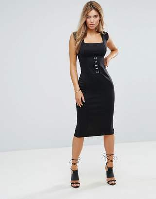 Asos DESIGN Seamed Midi Dress With Hook And Eye Corset Detail
