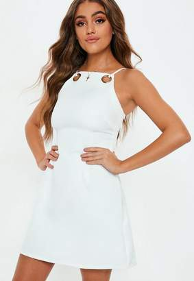 Missguided White Strappy Eyelet A Line Dress