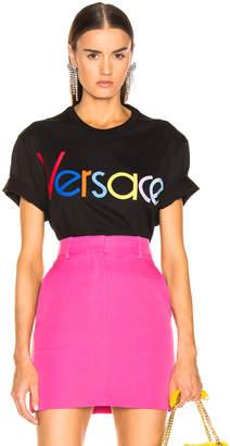 Versace Multicolor Logo Tee in Black | FWRD