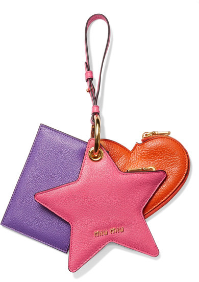 Miu Miu Miu Miu - Set Of Three Textured-leather Coin Purses - Fuchsia