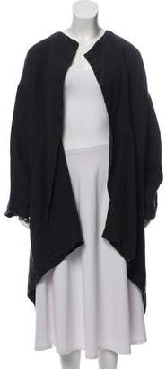 eskandar Open Front Linen Coat
