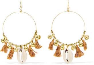 Chan Luu Tasseled Gold-tone Shell Earrings